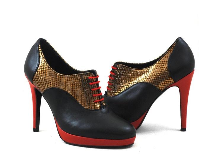DESSINE MOI UN SOULIER Shoe-Richelieu plateforme lisse noir, rouge et croco métal or