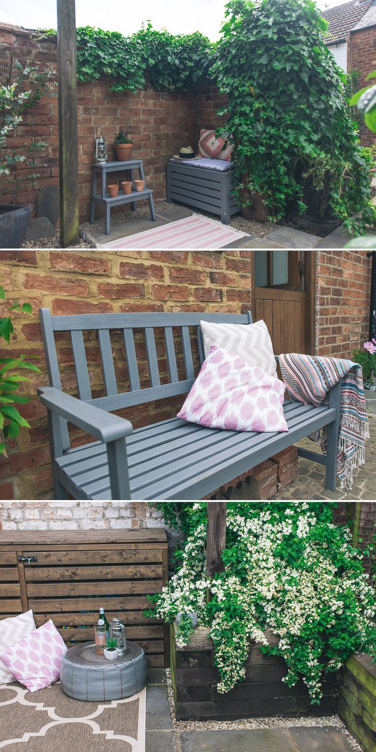 grey painted garden furniture with pink boho ikat accents courtyard garden makeover