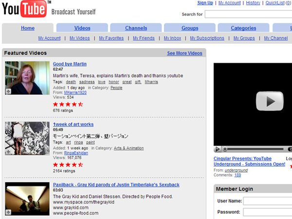 Early designs of popular websites
