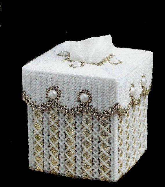 GOLDEN RIBBON Elegant Boutique Size Tissue Box by NiftyStitches4U