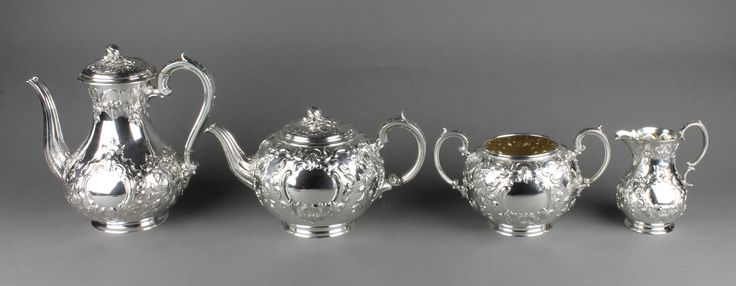Lot 603, A fine mid Victorian repousse silver 4 piece tea and coffee set with floral and scroll decoration with vacant cartouches, Sheffield 1861, maker Martin Hall & Co, gross weight 2025 grams, est  £1500-1700