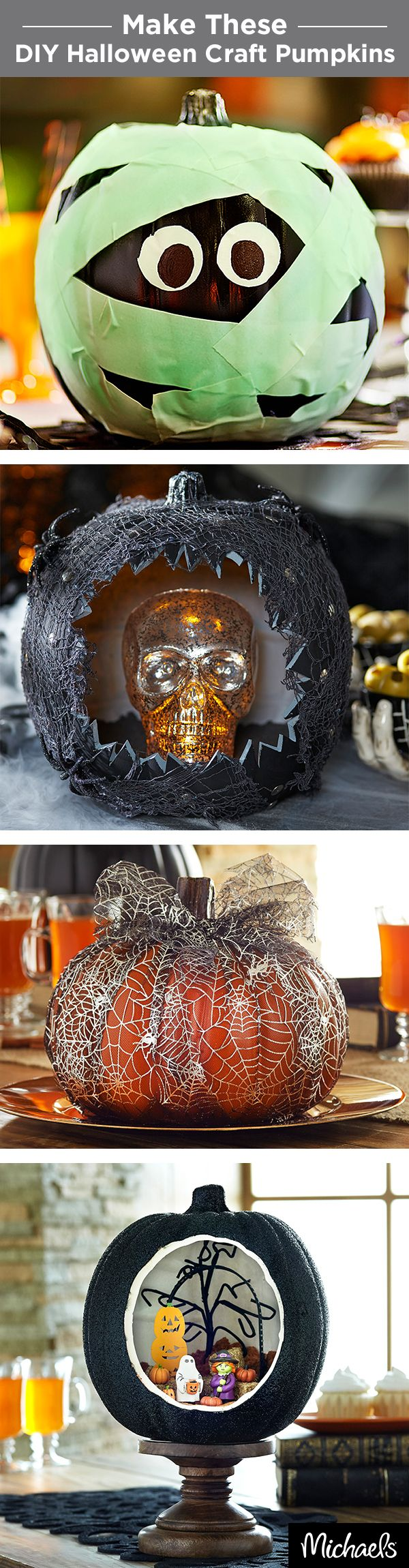 Make DIY craft pumpkins that last year after year. From a glow in the dark mummy to a mini diorama, there are tons of ways to decorate craft pumpkins. Get everything you need at your local Michaels.