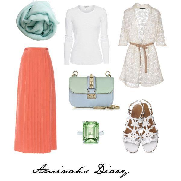 Orange skirt, white shirt, lace cardigan, mint scarf, green ring, white sandals