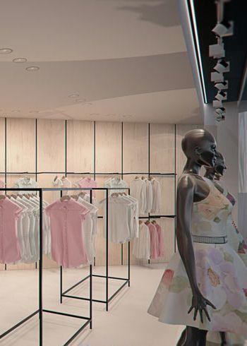 Clothing store design in Langenfeld GERMANY - archi group POLAND. Sklep odzieżowy w w niemieckim mieście Langenfeld.
