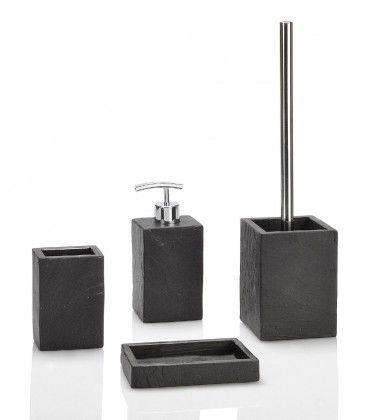 Ensemble pour salle de bain et toilettes en r sine effet - Ustensiles salle de bain ...