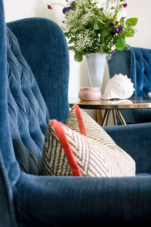 6th Street Design School: One Week Room Design Bedroom Reveal Navy  Upholstered Chairs