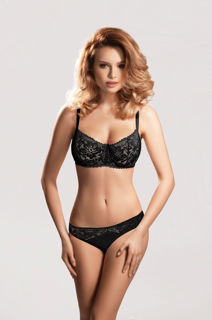 ARWENA black/beige #lingerie #bra #black #lace #soft #intimate #sexy #biustonosz #miękki #koronka #bielizna #panties #figi