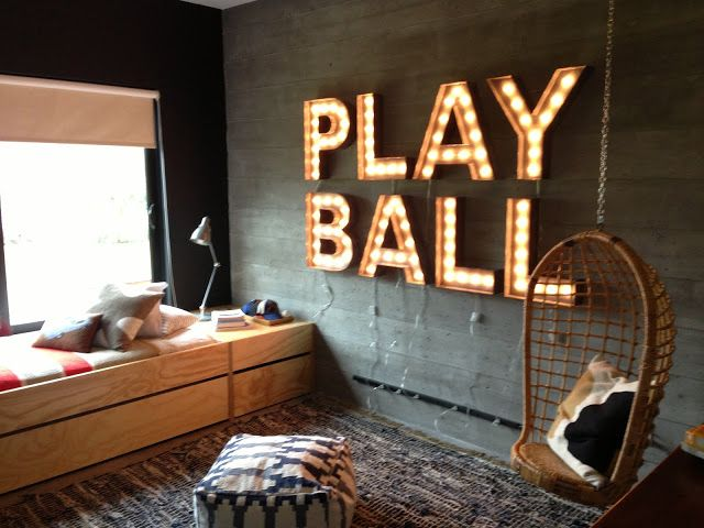 """vintage baseball boys room - maybe not lights, but """"Play Ball""""needs to be somewhere in the room"""