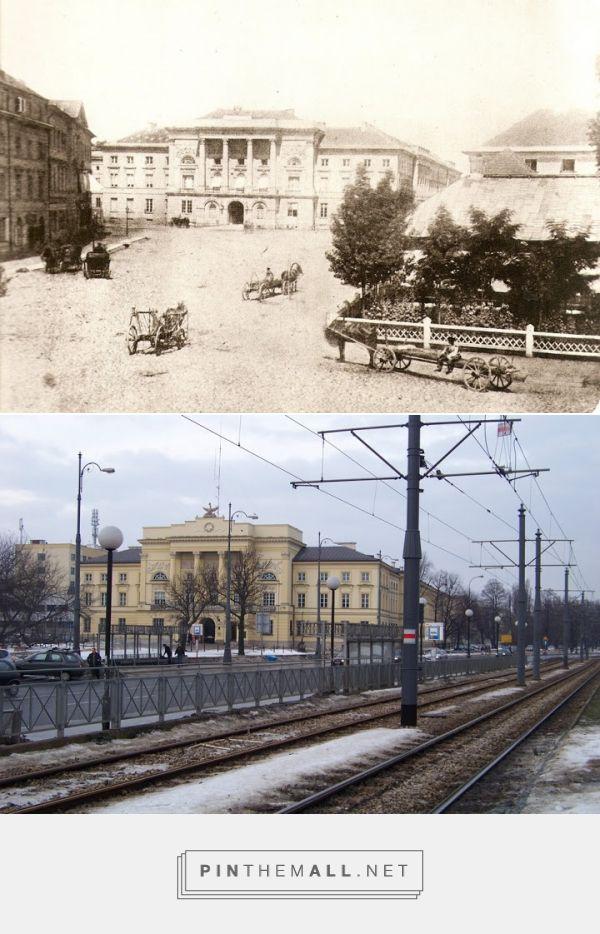 Widok Pałacu Mostowskich z szóstego dziesięciolecia XIX wieku i z 2011 r. - created via https://pinthemall.net