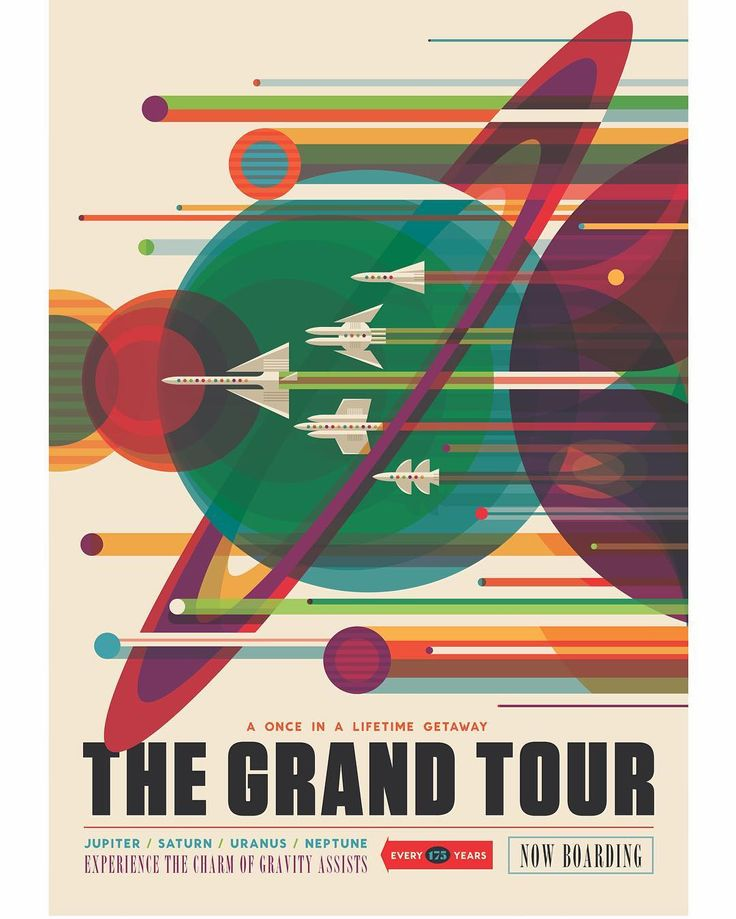Searching the solar system for cool, last-minute gifts? Download + print free space travel posters at http://www.jpl.nasa.gov/visions-of-the-future/ (link in bio) #space #travel #retro #tourism #design #NASA #JPL #gift #gifts #free #poster #NASABeyond