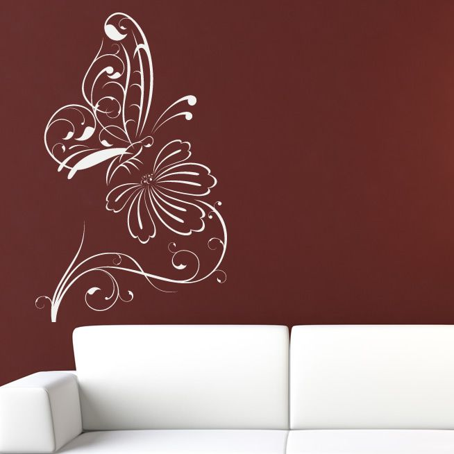 Flower Wall Stickers | Butterfly on Flower Outline Floral Wall Decal Wall Stickers Transfers ...