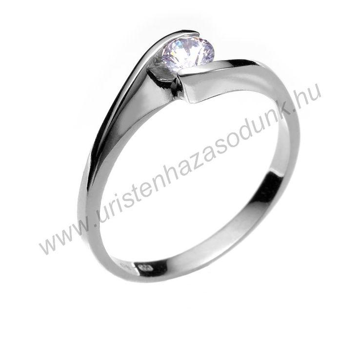 E4FC - 34.950 Ft 14 karátos fehér arany cirkónia köves Eljegyzési Gyűrűk 48-60-as méretig azonnal raktárról www.uristenhazasodunk.hu