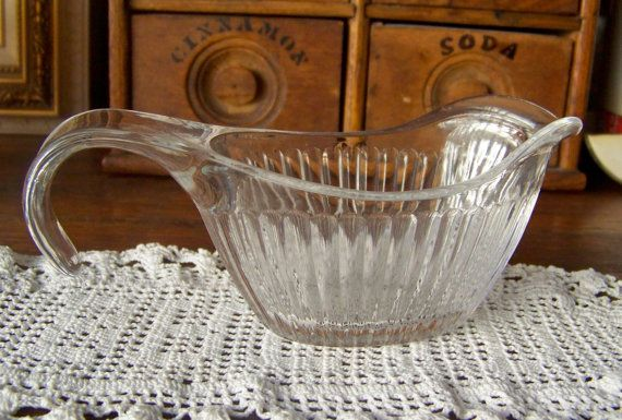 Creamer Depression Glass Ribbed Syrup Creamer by cynthiasattic, $24.00