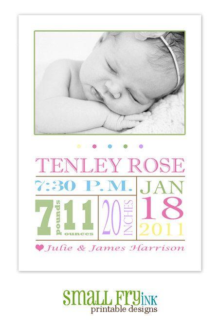 Modern printable photo birth announcement (girl). $10.00, via Etsy.