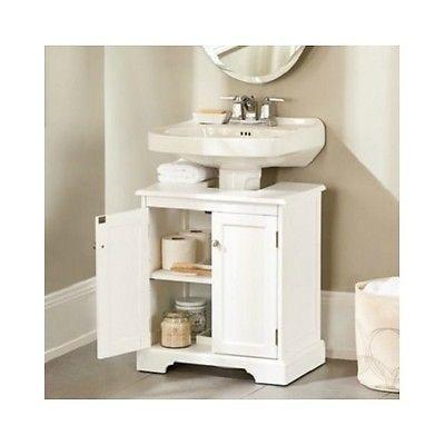 Pedestal-Sink-Storage-Cabinet-Bathroom-Organizer-Furniture-Beauty-White-Wood-New
