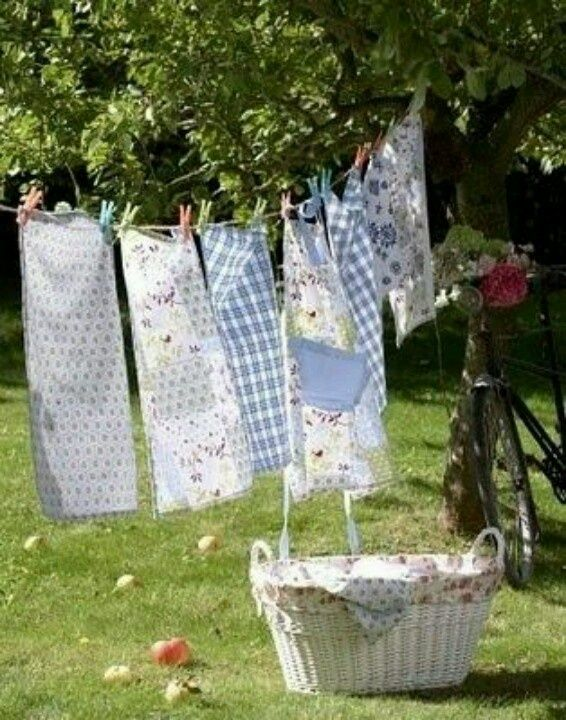 laundry on the line | ... and aprons on the line! Nothing like sun and wind dried laundry
