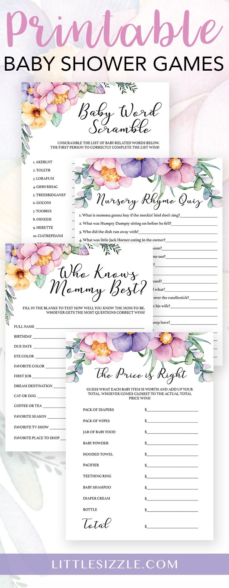 Pink and purple flower baby shower games for girl by LittleSizzle. Printable floral watercolor baby girl shower games to entertain large groups of guests. The pink and purple flower game pack includes fun AND easy shower games like Baby word scramble, Nursery rhyme quiz,The price is right and Who knows mommy best. #printable #diy #babyshowergames #babyshowerideas #floral