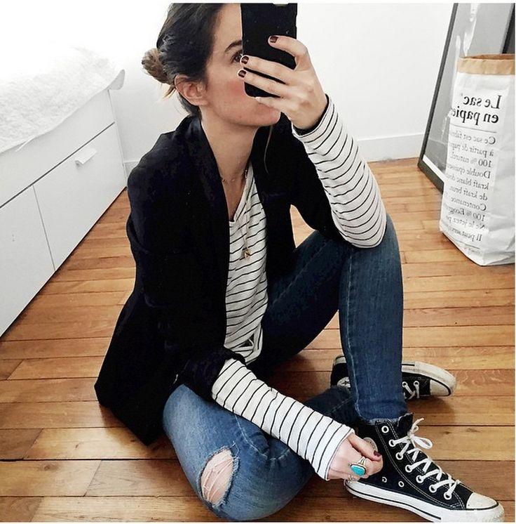 converse noir haute look