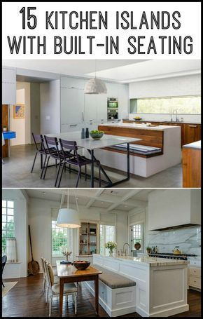 Kitchen island with built-in seating inspiration in 2018 cabinets