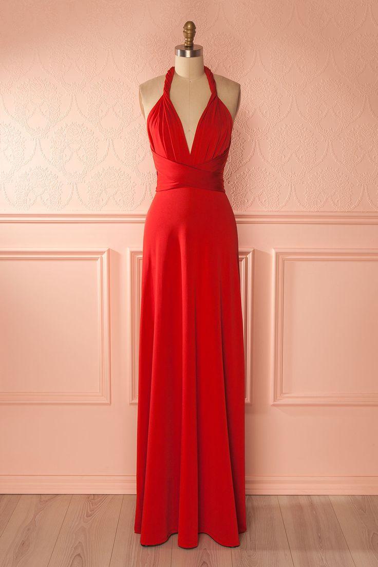 Créativité, fantaisie et magie sont tissées dans cette robe aux propriétés étonnantes !  Creativity, fantasy and magic are woven into this surprising dress!  Red polymorphous dress  https://1861.ca/products/nela-rouge