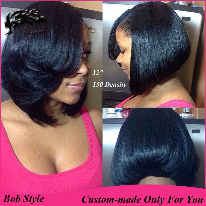 Layered Bob 150 Density Custom Made 100 Human Hair