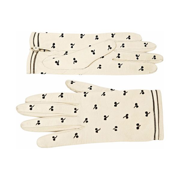 Pre-Owned Cream & Black Hermes Leather Gloves ($425) ❤ liked on Polyvore featuring accessories, gloves, white, real leather gloves, hermes gloves, hermès, cream gloves and white gloves