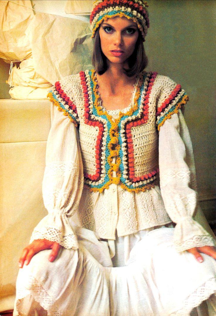 1970s Crocheted Corset Peasant Corselet Vest and Cloche Hat   Vintage Crochet Pattern PDF