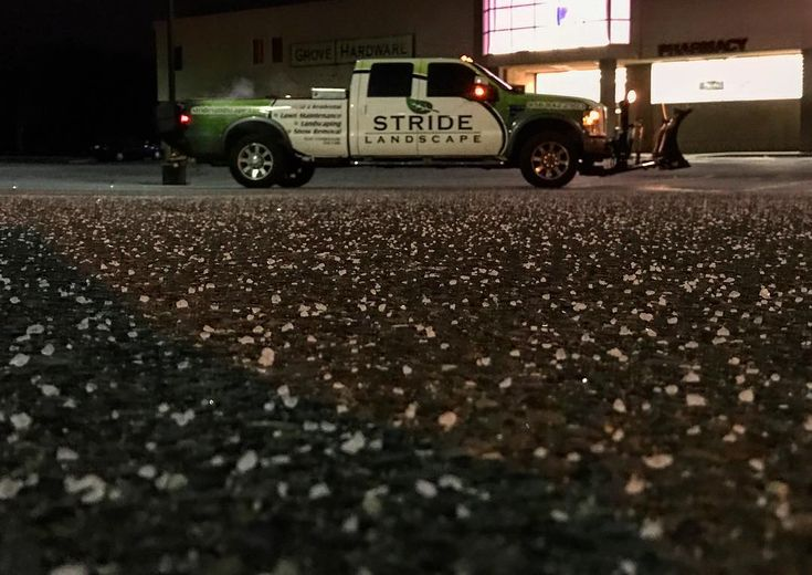 The salt is laid at all of our commercial properties and now we wait. Who else loves this time of year!? . . . #letitsnow #salt #snow #plow #snowdogg #stride #stridelandscape #landscapers #landscaping #landscapersofinstagram #lawncare #lawnmaintenance #snowremoval #icecontrol #ford #commercial