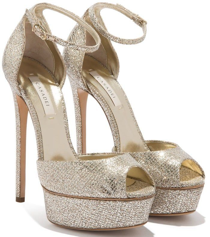 Peep SandalsCasadei Glittering Platinum Platform Flora Toe 7bgYfyv6