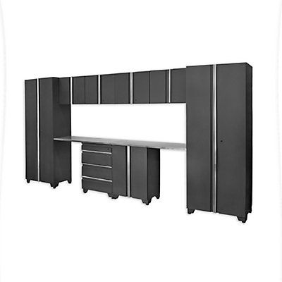 Featuring two work areas, the Proslat Classic Series 10-piece Cabinet set offers storage for everything from smaller tools and accessories to larger gear & machinery. The dual spaces under the workbench are ideal for when working seated, and to stow away your work stool when not in use. Proslat Classic Series Cabinets offer timeless concealed frames & design with modern features. All cabinets are fully welded with solid backs (perforated for easy mounting) to keep cabinets square and...