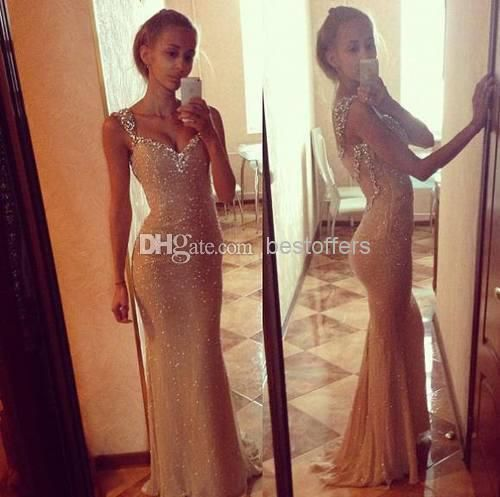 Wholesale Sequins Dress - Buy Champagne Dresses with Beads And Crystals Fitted on the Back Sheer Straps Full Length Long Evening Dresses Women Party Gowns, $161.41 | DHgate comes in red