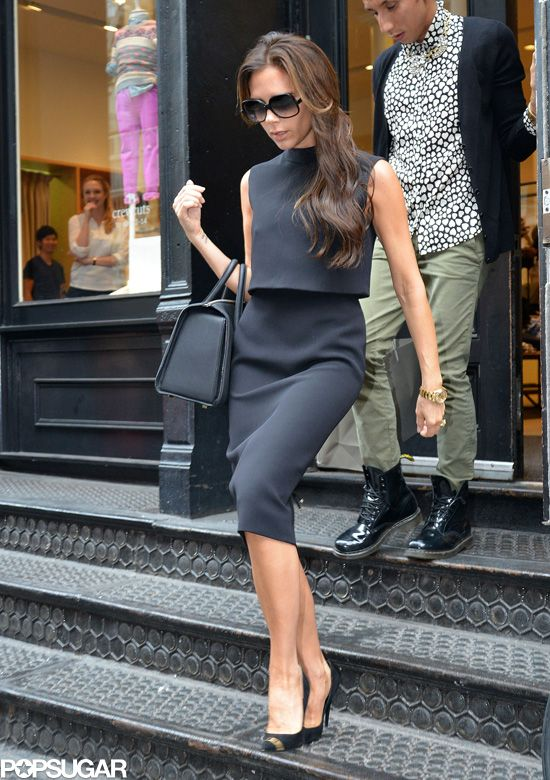Victoria Beckham made a fashionable shopping stop at J.Crew's SoHo location in NYC today.