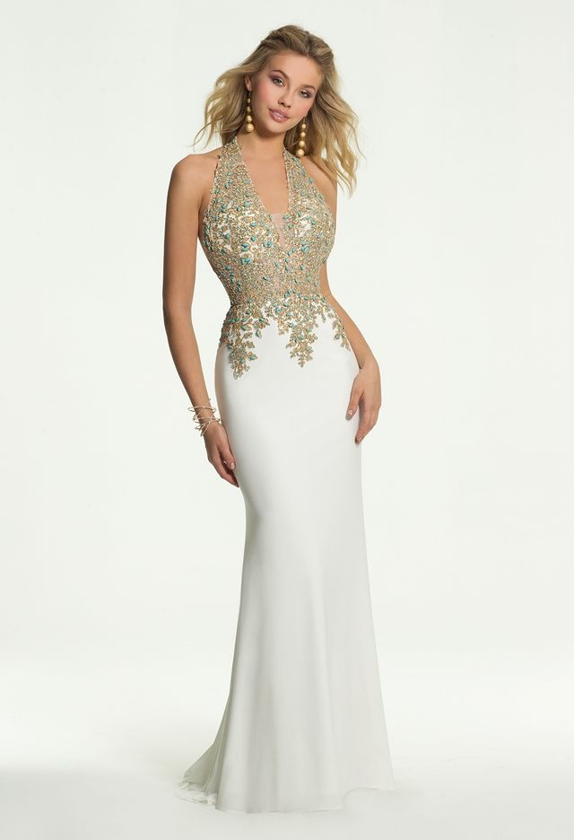 7848c908a19 Gold Embroidered Jersey Halter Dress from Camille La Vie