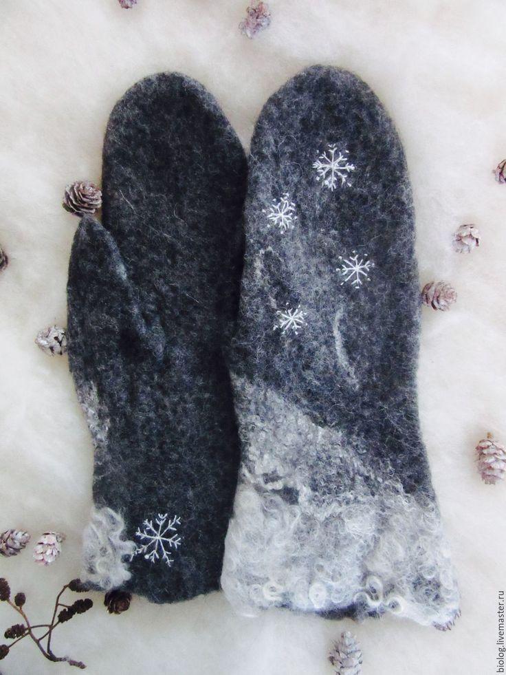 Купить снежинки- вышитые валяные варежки эксклюзивного состава экостиль - подарок любимой, высокое качество