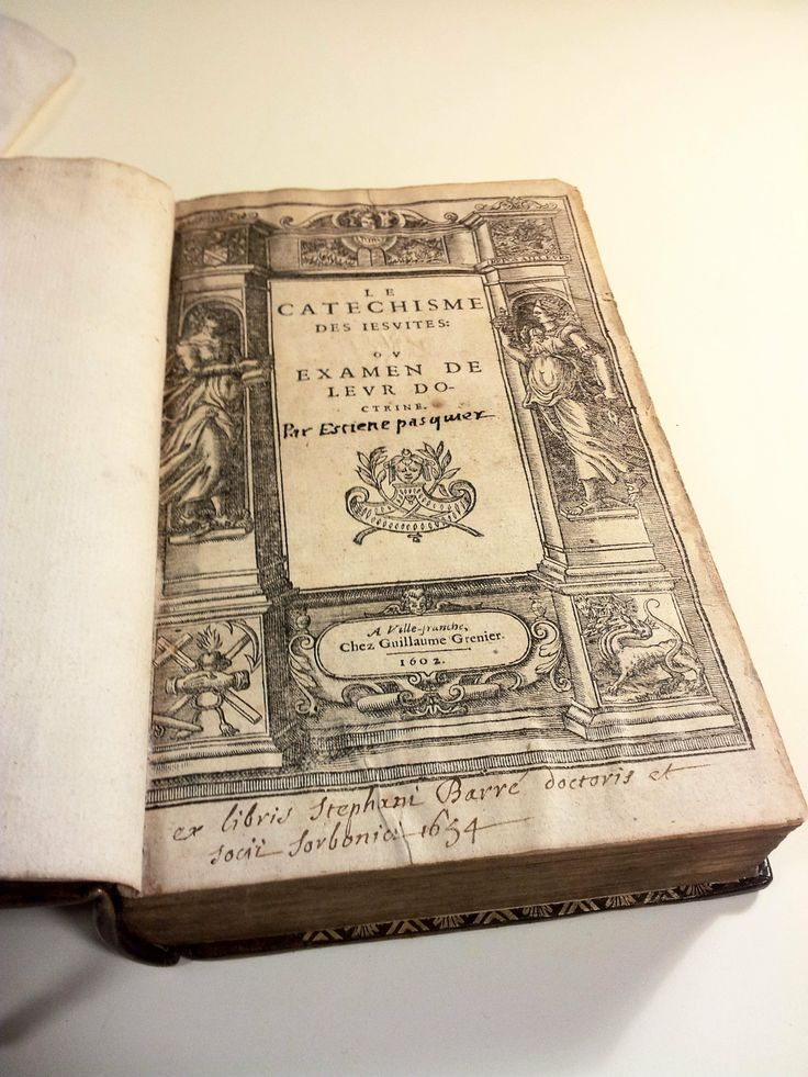 """""""Le catechisme des Jesuites; ou examen de leur doctrine"""" -  17th century French calf binding (rebacked, original spine preserved); gilt crest on upper and lower covers (Compte de Brioude); marbled endpapers; gilt edges; fore-edge painting portrait of Samuel Pepys accompanied by Pepys motto and his official position as Secretary to the Admiralty and """"The four days battle"""" (1-4 June, 1666)  @ http://capitadiscovery.co.uk/cityoflondon/items/465110 #rarebooks"""