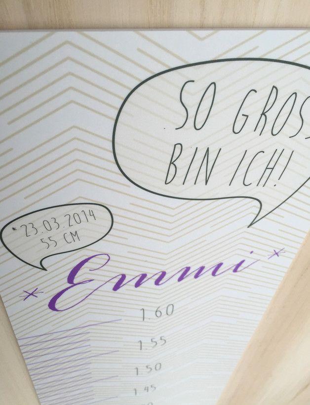 Kinderzimmerdekoration - Kinder Messlatte Dein Name personalisiert - ein Designerstück von papierprints bei DaWanda