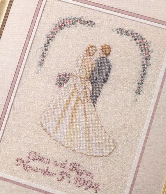wedding cross stitch patterns | Wedding Cross Stitch Pattern Bride and Groom Personalized Names Date ...