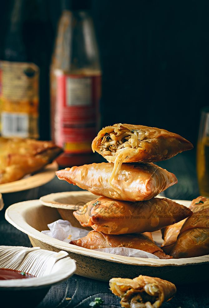 Crisp samosa stuffed with yummy Chinese chicken filling. A must try because you will love them.  Full recipe