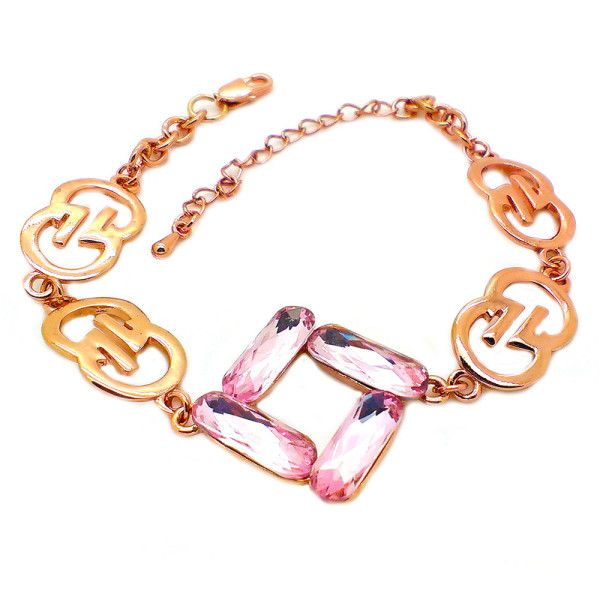 Beora Rose Gold Plated Pink Crystal Chain Bracelet by Trendymela.com
