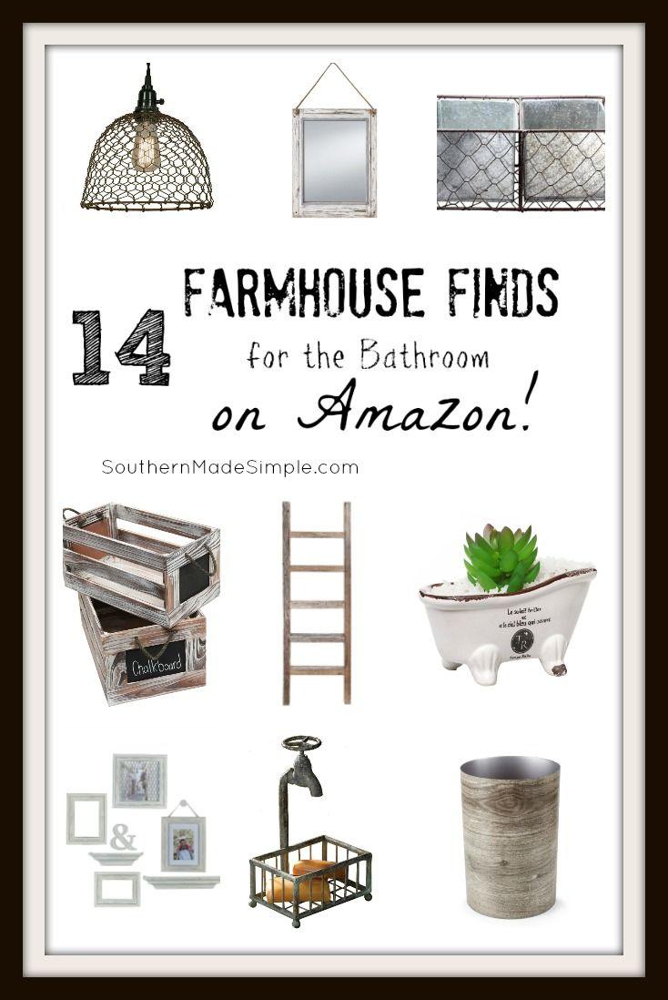 Farmhouse Bathroom - 14 Farmhouse Finds for the Bathroom on Amazon! Hello, 2 day shipping!