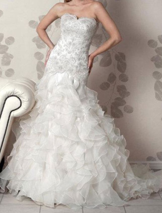 """Amanda Wyatt """"Cadiz"""" size 10 champagne colour wedding dress for sale on www.sellmyweddingdress.co.uk for £400  http://www.sellmyweddingdress.co.uk/listing/amanda-wyatt-cadiz-size-10-champagne-colour/2074"""