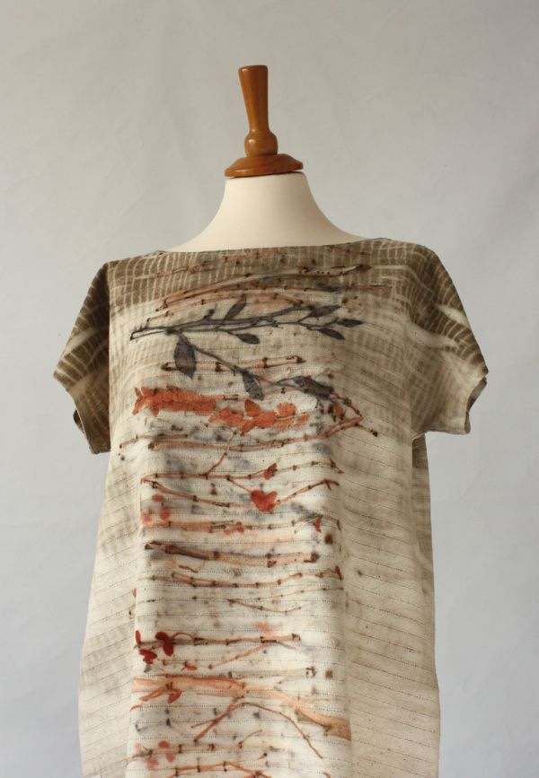 silk tunic - eco printing