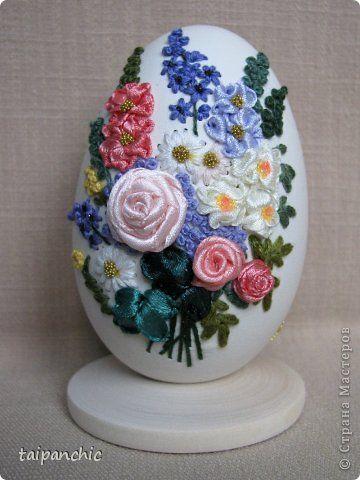 Декор предметов Вышивка Букет Скорлупа яичная фото 1
