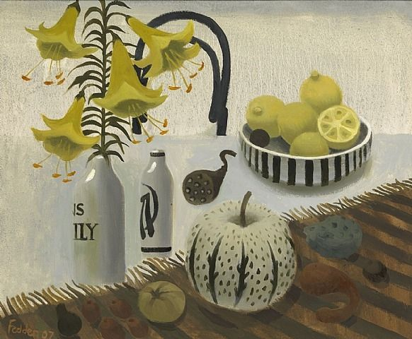 Lilies and Lemons Artist: Mary Fedden Completion Date: 2007 Style: Naïve Art (Primitivism) Genre: still life