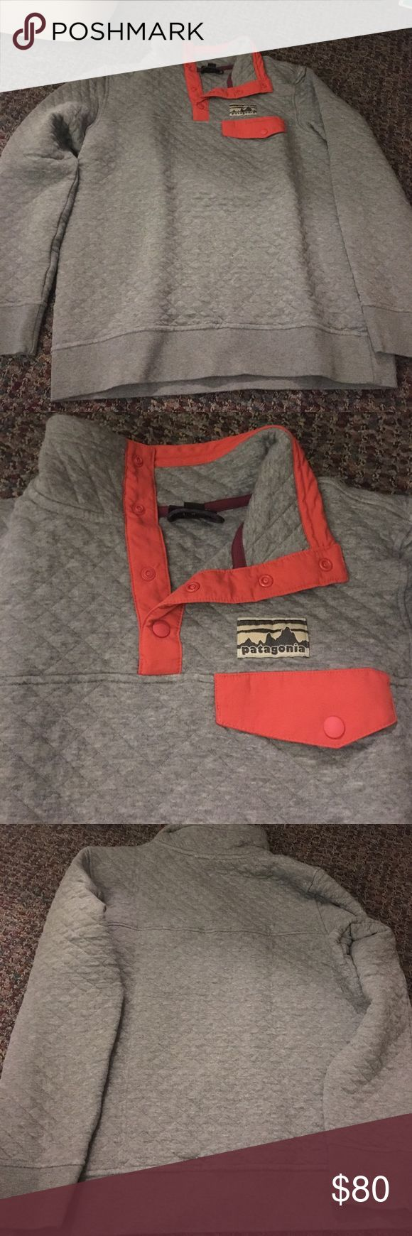 Cotton Quilt Snap-T Pullover Patagonia Still in very good condition, colors grey and orange Patagonia Sweaters