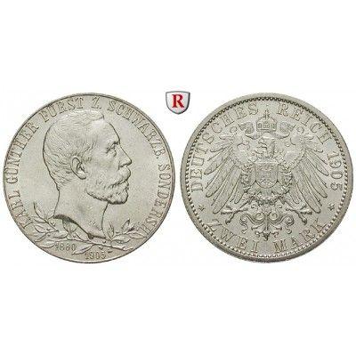 Deutsches Kaiserreich, Schwarzburg-Sondershausen, Karl Günther, 2 Mark 1905, vz/vz-st, J. 169a: Karl Günther 1880-1909. 2 Mark 1905.… #coins