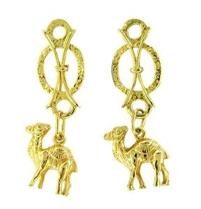 Vintage Dangling Camel Earrings in 18 Karat Yellow Gold, One of a Kind Unique Earrings - These adorable hand made camel earrings have very secure screw backs and we have never seen another pair anything like these. In excellent pre-loved condition, circa 1960's. Item E102 - http://www.antiquejewelrymall.com/hancamearin1.html