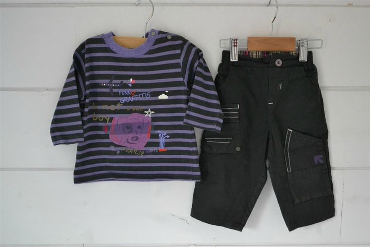 Tee-shirt en coton rayé gris et violet + Pantalon en coton gris doublé assorti Marèse - 6M
