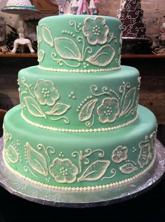 Green Scrolling Cake