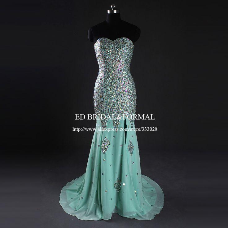 Real Sample Mint Green Kristall Strass Schwere Perlen Sparkly Meerjungfrau Abendkleid Höhe Aufgeschlitzte Lange Formale Abendkleid //Price: $US $197.00 & FREE Shipping //     #dazzup